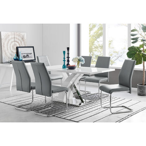 Atlanta Modern Rectangle Chrome Metal High Gloss White Dining Table And 6 Lorenzo Chairs Set