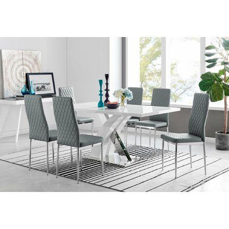 Atlanta Modern Rectangle Chrome Metal High Gloss White Dining Table And 6 Milan Chairs Set