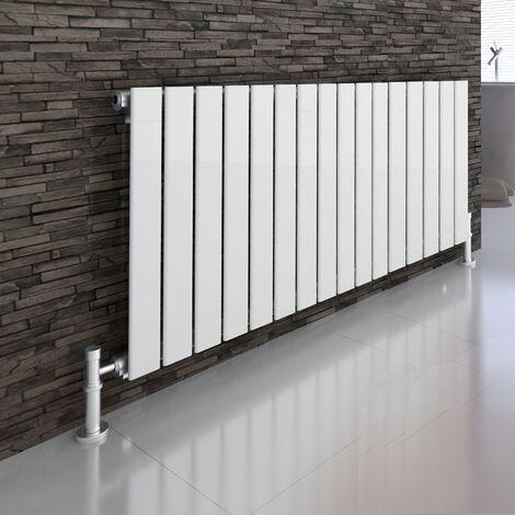 Atlanta White 600 x 1210 Horizontal Flat Panel Designer Radiator Central Heating