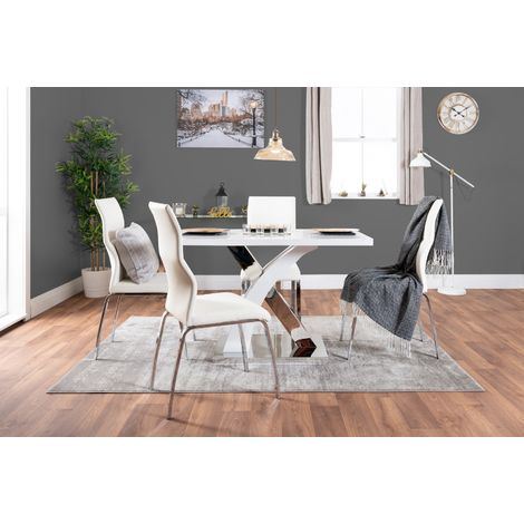 Atlanta White High Gloss And Chrome Metal Rectangle Dining Table And 4 Andora Dining Chairs Set