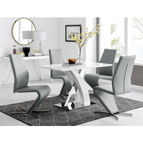 Atlanta White High Gloss And Chrome Metal Rectangle Dining Table And 4 Willow Dining Chairs Set