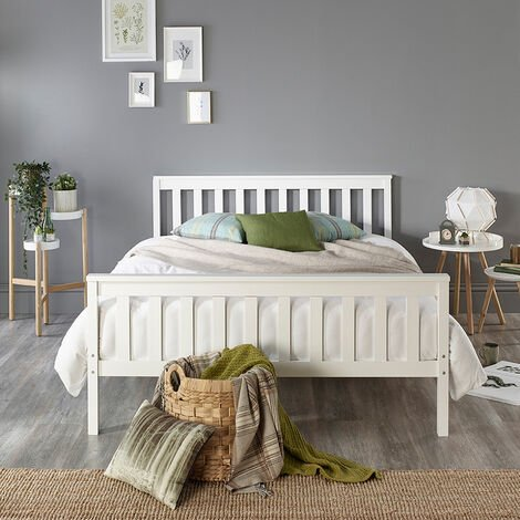 """main image of """"Solid Wood White Bed Frame - Single to Super King"""""""