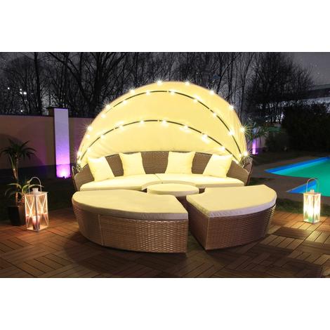 Atlantique - Canapé de Jardin rond - 210 cm LED - Chocolat ...