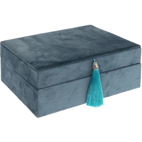 Atmosphera - Boite à Bijoux en velours Bleu collection Atelier d'hiver