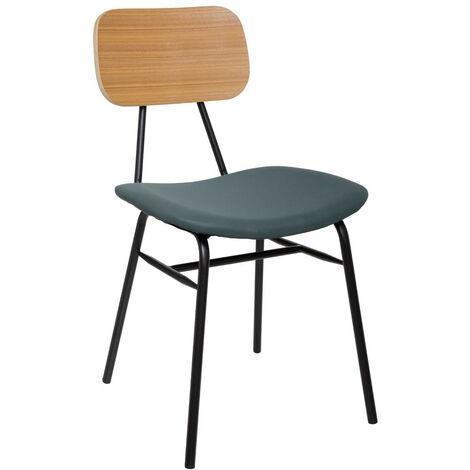 Atmosphera - Chaise de Salle à Manger Assise Grise et pieds en métal