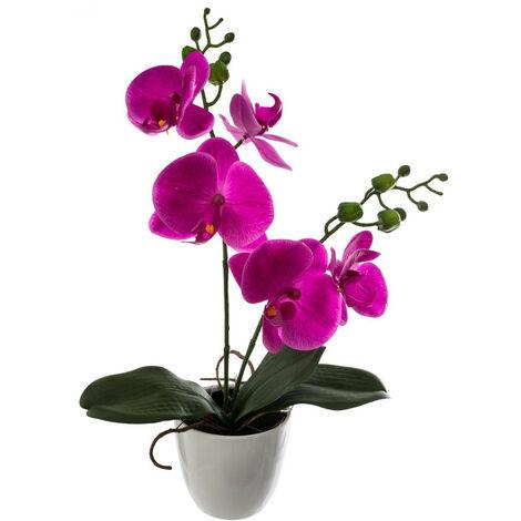 """main image of """"Atmosphera - Composition florale artificielle Orchidée dans son pot H 43 cm"""""""