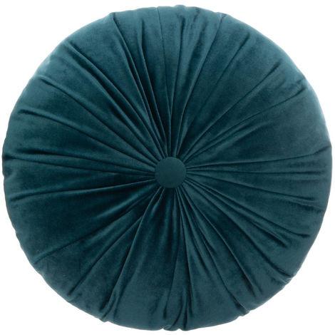 Atmosphera - Coussin rond velours bleu pétrole D 40 cm la dolce vita