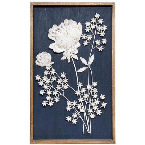 Atmosphera - Déco Murale Cadre en Bois et Fleurs 3D en Métal blanc vieilli 47 x 77 cm
