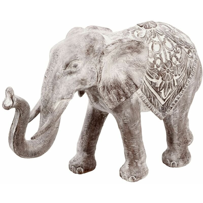 Statue Eléphant en résine - H. 30 cm - Marron effet blanchi - Marron