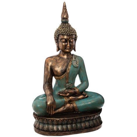 Atmosphera - Grande Statue en résine Bouddha assis H 72,5 cm