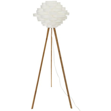 Atmosphera - Lampadaire trépied en bambou et abat-jour blanc H153