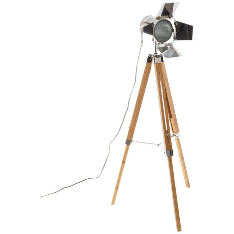Atmosphera - Lampadaire Trépied en bambou Projecteur Inox H 139 cm Guri
