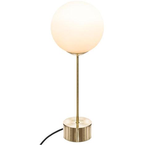 Atmosphera - Lampe à poser Boule Blanche sur pied Or H 43 cm Dris