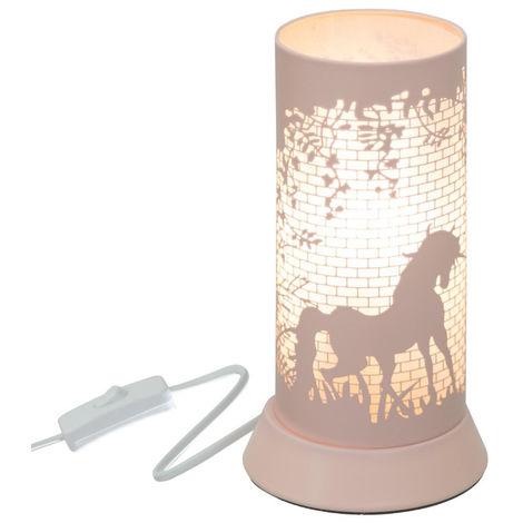 Atmosphera - Lampe à poser décor cheval en métal rose