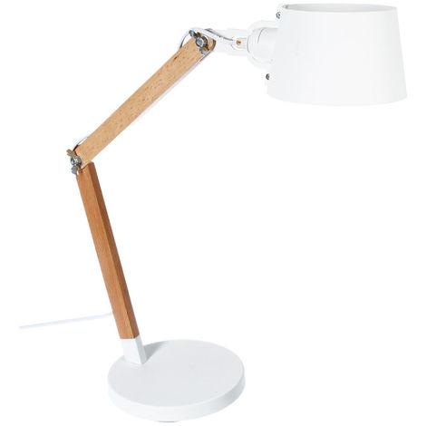 Atmosphera - Lampe bois + abat-jour métal blanc H60