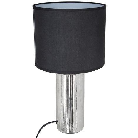 Atmosphera - Lampe céramique striée tube H41