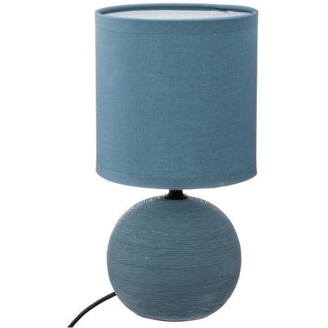 Atmosphera - Lampe en céramique Pied Boule striée Bleue H 25 cm