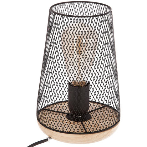 Atmosphera - Lampe métal bois noire H23
