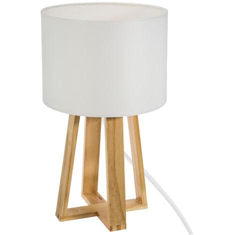Atmosphera - Lampe pied bois et abat-jour blanc molu H35