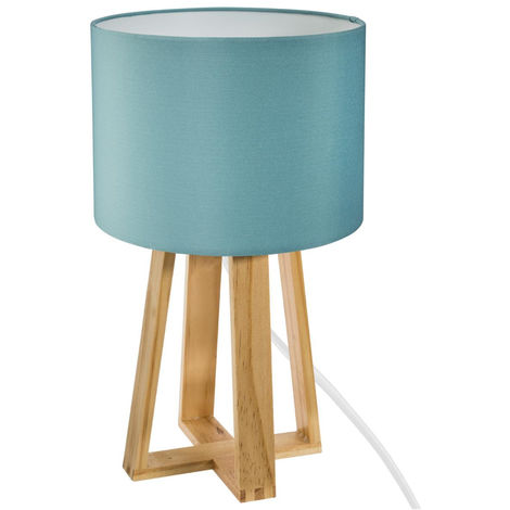 Atmosphera - Lampe pied bois et abat-jour bleu molu H35
