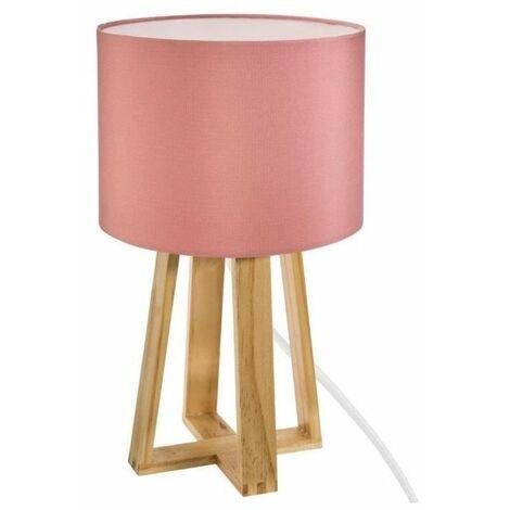 Atmosphera - Lampe pied bois et abat-jour rose molu H35