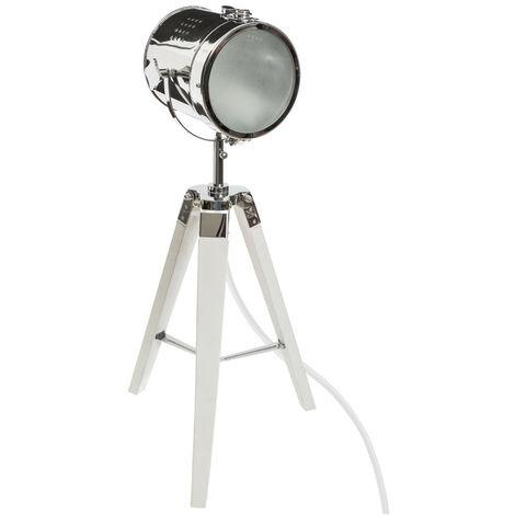 Atmosphera - Lampe projecteur en métal et bois brossé blanc ebor H68