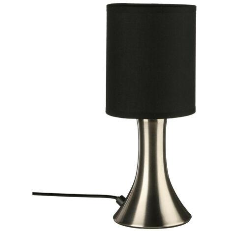Atmosphera - Lampe Tactile Noir et Chrome H 28 cm