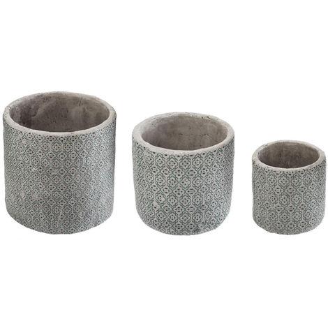Atmosphera - Lot de 3 Caches pots ronds en ciment vert