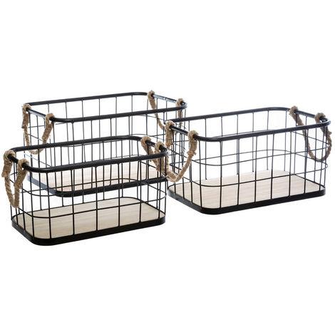 Atmosphera - Lot de 3 Caisses de rangement Cagettes en Métal et Bois Vintage