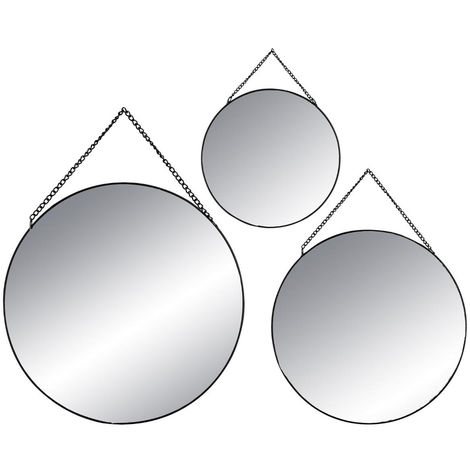 """main image of """"Atmosphera - Lot de 3 Miroirs à suspendre en Métal Noir"""""""