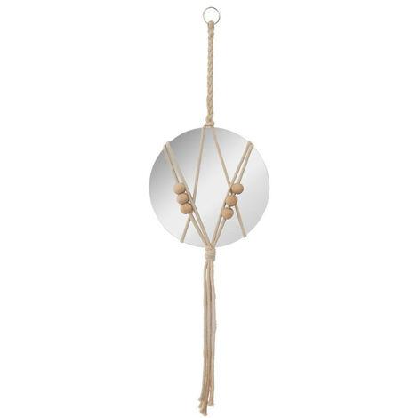 Atmosphera - Miroir à suspendre avec corde et perles D 20 cm