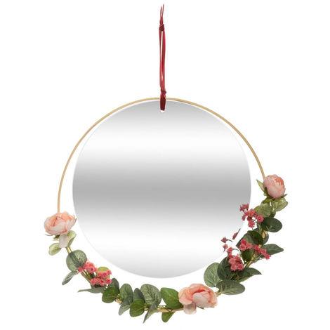 Atmosphera - Miroir à suspendre avec décoration florale D 33 cm Poésie à l'anglaise