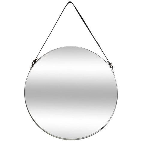 Atmosphera - Miroir en métal à suspendre lanière imitation cuir D 38 cm