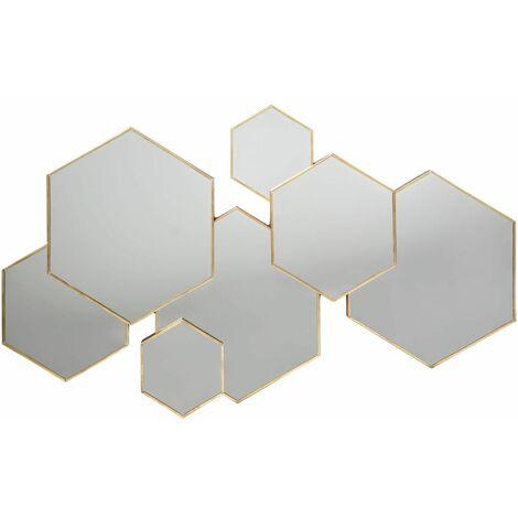 Miroir multi hexagone Lila - Atmosphera - Doré