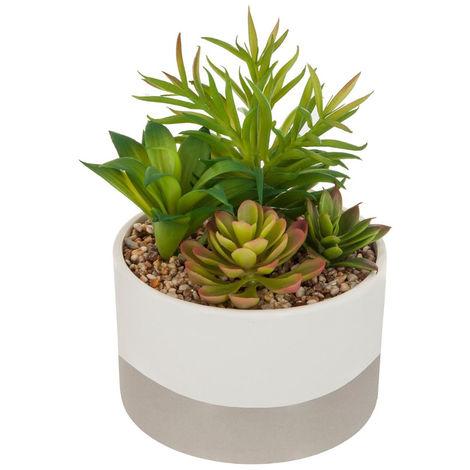 Atmosphera - Plante artificielle Pot céramique bicolore D14 cm
