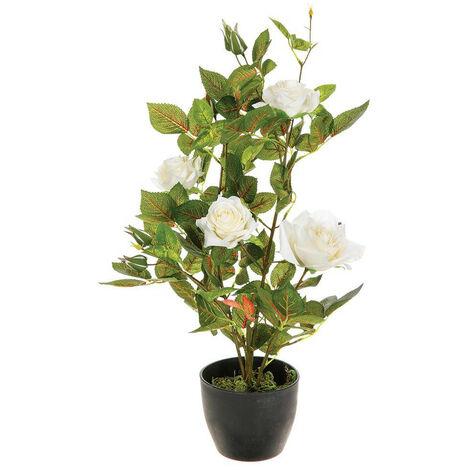 Atmosphera - Plante artificielle Rosier en pot H 50 cm
