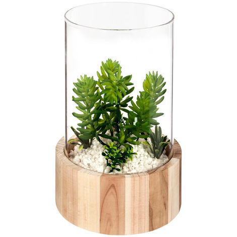 Atmosphera - Plante artificielle verre + bois nomade H21