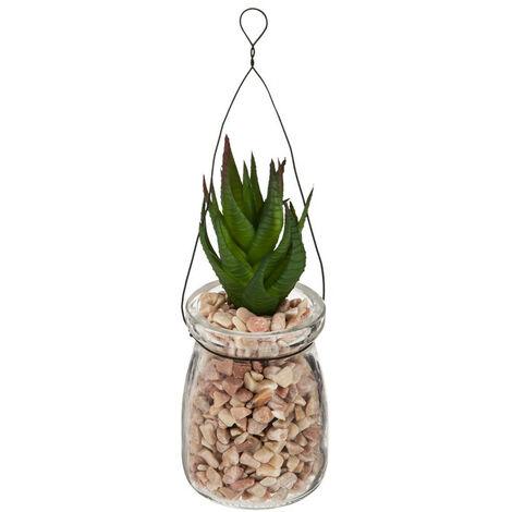 Atmosphera - Plante verte artificielle à suspendre Pot en verre