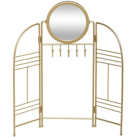 Atmosphera - Présentoir Porte Bijoux en Métal doré avec miroir H 33 cm