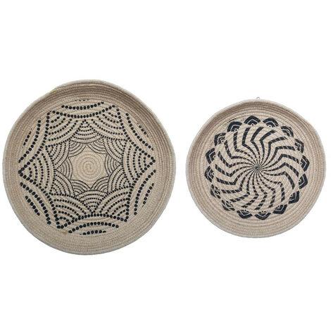Atmosphera - Set 2 Décorations Murales Paniers en Jute D 48.5 cm et D 38.5 cm