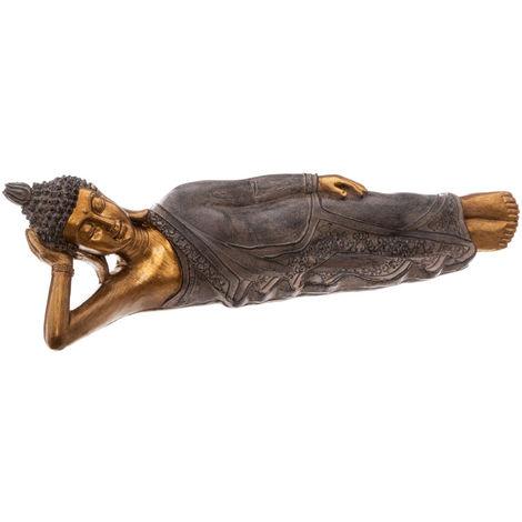 Atmosphera - Statue Bouddha allongé en résine Or L 42 cm