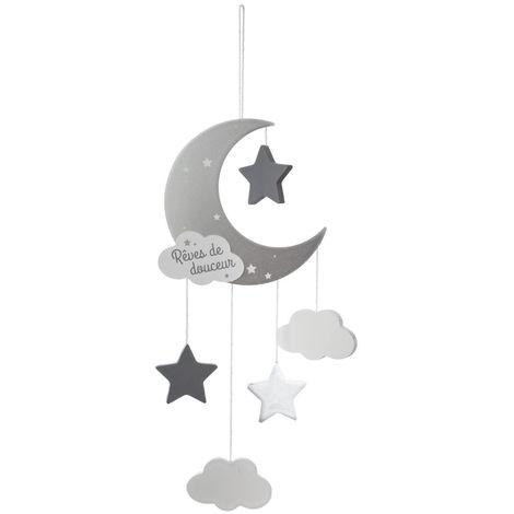 Atmosphera - Suspension lune gris H 43 cm