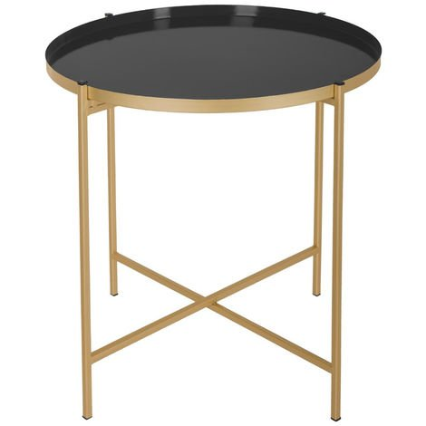 Atmosphera Table A Cafe En Metal Noir Et Or Kylian H 45 Cm