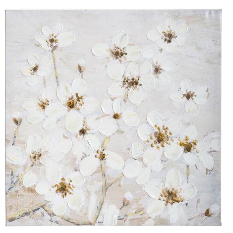 Atmosphera Toile Peinture Acrylique Fleurs 58 X 58 Cm 162267