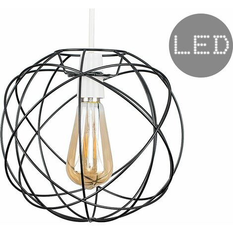 Atom Metal Basket Cage Ceiling Pendant Light Shade + 4W LED Filament Amber Light Bulb