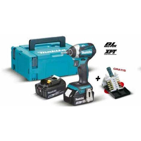 Atornillador de impacto BL 18V 5.0Ah DTD154RTJ + Estuche de puntas MAKITA PRK00305
