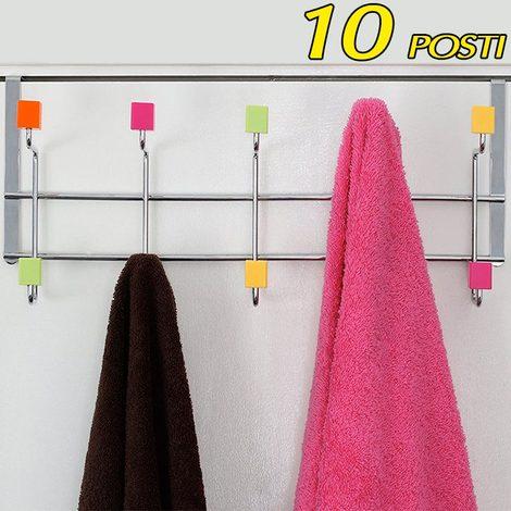 Appendiabiti Con Pomelli.Attaccapanni Per Porta Appendiabiti In Metallo 10 Posti Pomelli