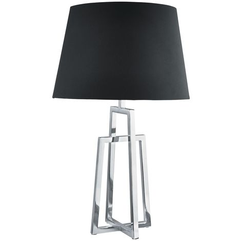 Attractive Chrome Base Table Lamp Crossed Frame Black Tapered Shade