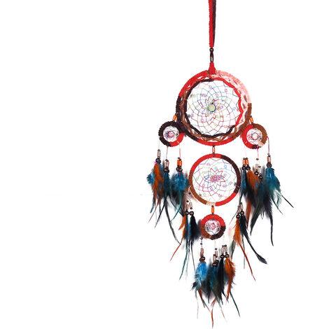 Attrape rêve Ficelle Naturelle Dreamcatcher Indien à Perles & à Plumes Fait Main - Capteur de rêves Multicolore et Artisanal