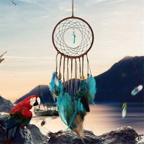 Attrape-rêves Bleu – Fait à la Main Exquise Plumes Turquoises Attrape-rêves pour Enfants/Voitures/Chambre à Coucher - Indiens Tenture Murale Décoration de Maison (Bleu et Marron)
